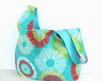 Large Knitting Project Bag, Modern Japanese Knot Bag, Knitting Bag, Handbag- Spokes Design on Aqua