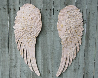 Angel Wings, Shabby Chic, Pink, Gold, Large, Metal, Upcycled, Hand Painted, Shabby Chic Decor, Boho Chic, Wall Decor, Nursery Decor, Gift