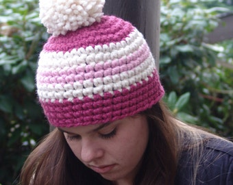 Woman's Spriped Beanie Hat in Cream, Raspberry Pink and Blossom with Extra Large Pom Pom