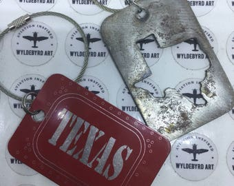 Steel Texas State cutout luggage tag and aluminum Texas combination