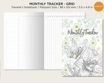 Passport Size Monthly Tracker Grid - Printable Traveler's Notebook Insert, Minimalist, Clean - UNDATED
