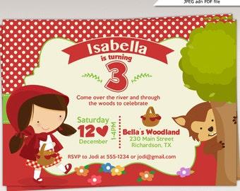 Little Red Riding Hood-Geburtstagsparty druckbare Einladung - Little Red Riding Hood Geburtstag Party einladen #482