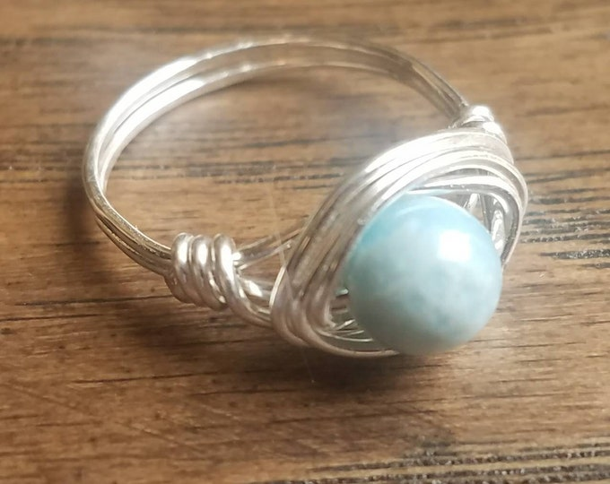Featured listing image: SIZE 6 Larimar Quartz Sterling Silver Ring