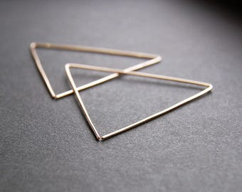 Large Triangle Earrings - triangle hoop earrings, gold hoop earrings, large hoop earrings, minimalist earrings, modern earrings, large hoops