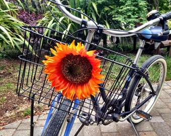 Orange Sunflower Bicycle Basket Accessory