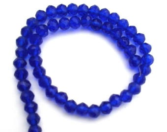 179 set of 10 dark blue faceted glass beads