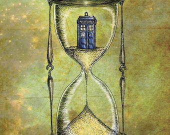 Doctor Who A3 print - Time Flies - Dr Who Tardis Hourglass inspired photo print art poster- FREE WORLDWIDE SHIPPING