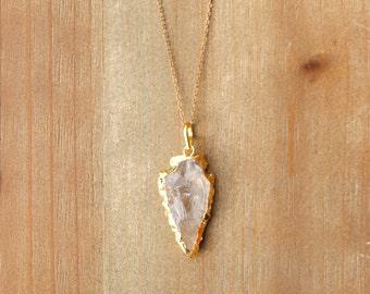 Quartz + Gold Arrowhead Necklace