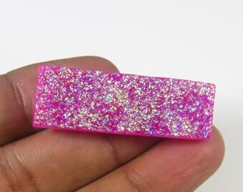 Pink Titanium Druzy agate. Titanium Druzy cabochon. Natural Titanium Druzy. 38x13mm. Titanium Druzy gemstone. Titanium Loose. MX-906