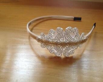 Great Gatsby 20s Flapper Style Beaded Headband Silver Bridal Fascinator Headpiece