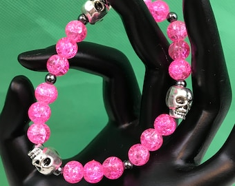 Silver Skulls Pink Beaded Stretch Bracelet New Gift