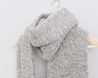 Knitted Scarf // Gray Knitted Fringe Scarf // Gray Marled Scarf // Knit Fringe Scarf // Neutral Knitted Scarf // Wool Scarf // Natural Scarf