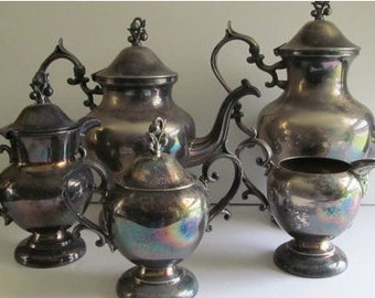6 pc RARE AND Fabulous Antique Victorian Silver Teapot Set Victorian Tea Party Silver Coffee Tea Pot Set Silver Sugar and Creamer Spooner