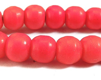 Red Prosser Trade Beads Round Molded African 77201