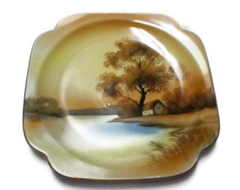Noritake Display Plate Dessert Square Platter Tree in Meadow House Lake Hand Painted Vintage Luncheon Salad Plate Porcelain China Wedding