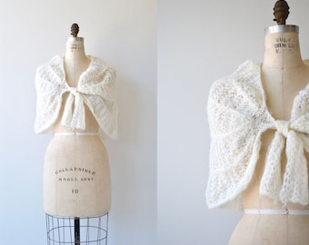 Spun Snow wrap | vintage 1950s knit wrapper | 50s wedding shrug