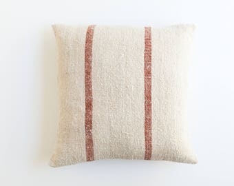 """Red Striped Vintage Grainsack Pillow Cover   18"""" x 19"""""""