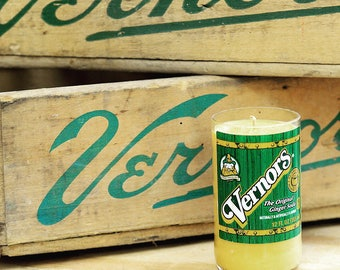 soy candle using a recycled Vernors pop bottle