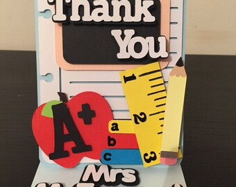 Thank You Teacher - Handmade Thank You Card - Personalised - Teachers Name - Teacher Gift Unique - End of School Year - School Books - Gift