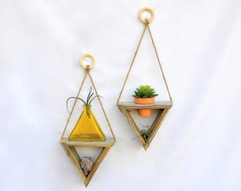 Wall Planter Indoor Outdoor · triangle succulent cactus planter · crystal display · reclaimed wood wall art · boho plant holder hanger