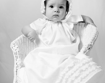 baby baptism DRESS cotton with lace and rosette, LILLA'S LACE (pure white or ivory) custom newborn to 6