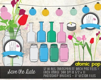 Save the Date Mason Jar and Flowers // Instant Download // Digital File Photoshop Brushes // Vector // Graphic Design