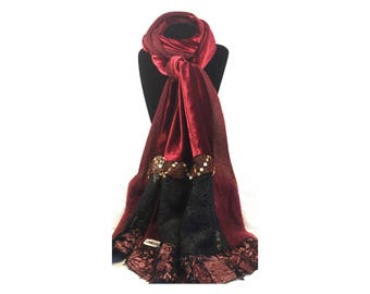 Patchwork red glowing & Black scarf