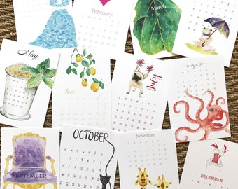 Desk Calendar 2018©, SALE!!!  REFILL NOW 10.00 or with easel frame or with acrylic magnetic frame in gift box set