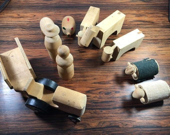 Vintage Mid-Century Wooden Farm Set from Creative Playthings