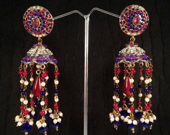 JHUMKA Earrings,Large GOLD Jhumkas-Dome earrings-Hot Pink Blue earrings,Jhumkis,Indian gold Jewellery ,handmade artisan Jewelry by Taneesi