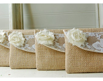 8 Burlap and Lace Wedding Clutches - Bridesmaid Clutch - Bridal Party - Burlap Clutch - you choose the flowers Personalize Bridesmaid Gift