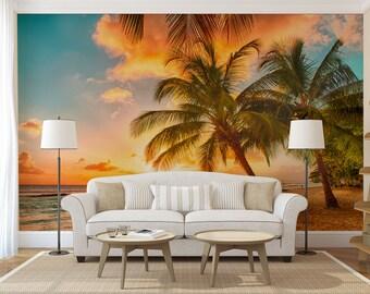Beach morning sunrise wall mural, self adhesive photo mural
