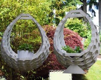 Set of Mid Century Planters, Hanging Planter, Mid Century Modern Planter, Outdoor Planter - Set of 2