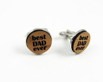 Dad Cufflinks - Engraved Wood Cufflinks For Best Dad Ever - Father's Day Gift