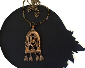 Vintage Finland Art Nouveau Bronze Inspired Pendant Necklace