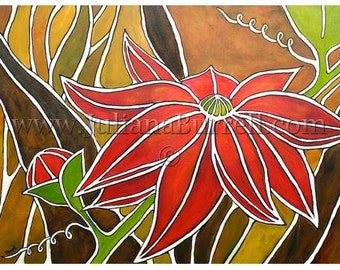 Greeting Card from Original Acrylic Painting entitled Red Passion Fruit Flower - 7x5 inch - 10 CARDS