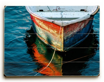 Wood Sign, Boat Photography, Blue Ocean Art, Red Rowboat Dory, Beach House Decor, Boat Wall Art, Wood Plank Art, Nautical Wall Art Beach Art