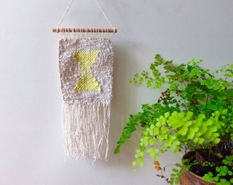 SALE - Woven wall hanging in cream/linen & pale yellow/ wall art/ tapestry/ miniature wall hanging