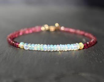 Opal Bracelet with Pink Tourmaline, Opal Bracelet, Tourmaline Bracelet, Pink Tourmaline, Dainty Gemstone Beaded Bracelet, October Birthstone