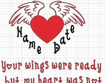 Heart Car Decal Laptop Remembrance Death Memory Wings Angel Sticker