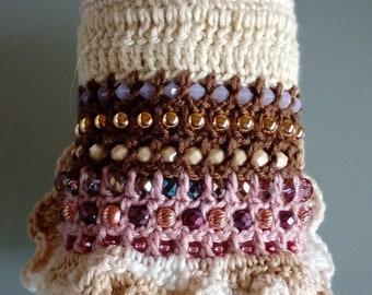 Knitted cotton knit Cuff bracelet