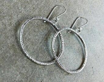 Hammered hoop dangle earrings