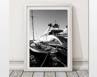 Yacht Photography Boat Wall Art Nautical Printable Art Sailboat Print St Tropez Poster French Riviera Image Office Decor for Men Harbor Art
