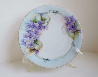 Vintage hand-painted violets plate