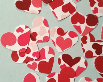 """Hearts, Small ~ 1"""" Patterend Heart Confetti, Pattern on Both Sides, Valentine, Party and Wedding Decor, Flower Girl Toss, Craft Supply"""