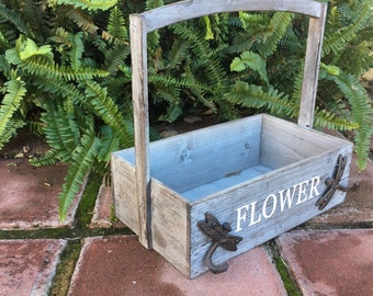 Herb Planter Basket Wooden Box Container With Cast Iron Dragonfly Hook Accents With Wood Handle Garden Flower Baskets Item #501434375