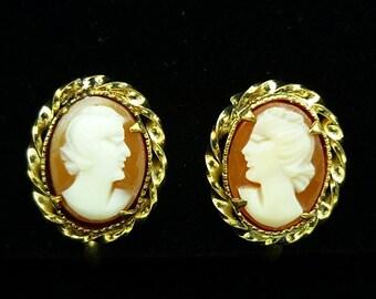Vintage 12K Gold Filled A & Z Cameo Screw Back Earrings, Petite Earrings, Gold Filled Earrings, Vintage Earrings, Victorian Earrings, C1950