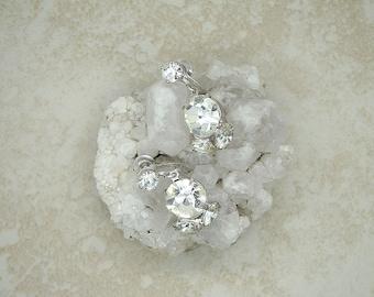 Vintage 1918 Coro Rhinestone Earrings, Vintage Designer Rhinestone Earrings, Vintage Bridal Rhinestone Earrings, Vintage Rhinestone Jewelry