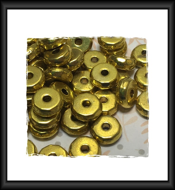 Gold Tone Faceted Coin Spacer Beads, 8 mm, 3 mm Thick, 17 or 20 Spacers