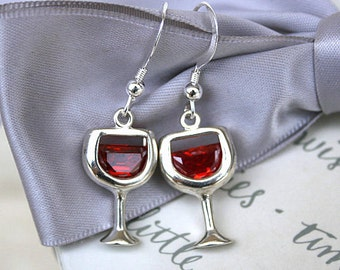 Red Wine earrings Sterling Silver with Siam CZ accents